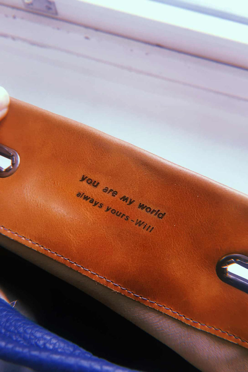 engraved message in a bag present