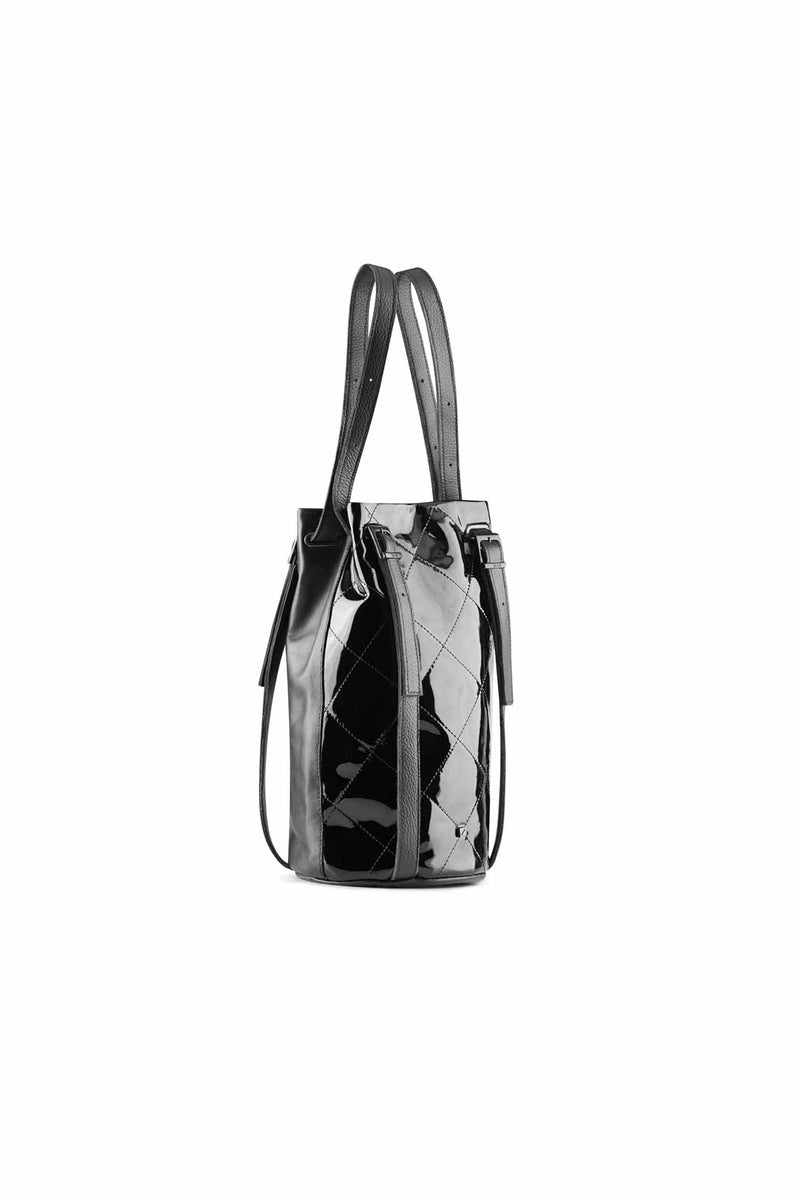 bag backpack Patent black leather for women