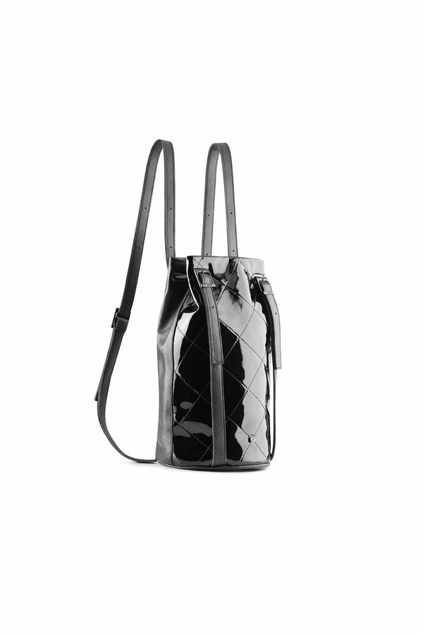 drawstring backpack Patent black leather
