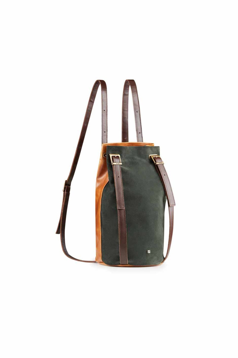 Cylindrical bag leather in green suede for women