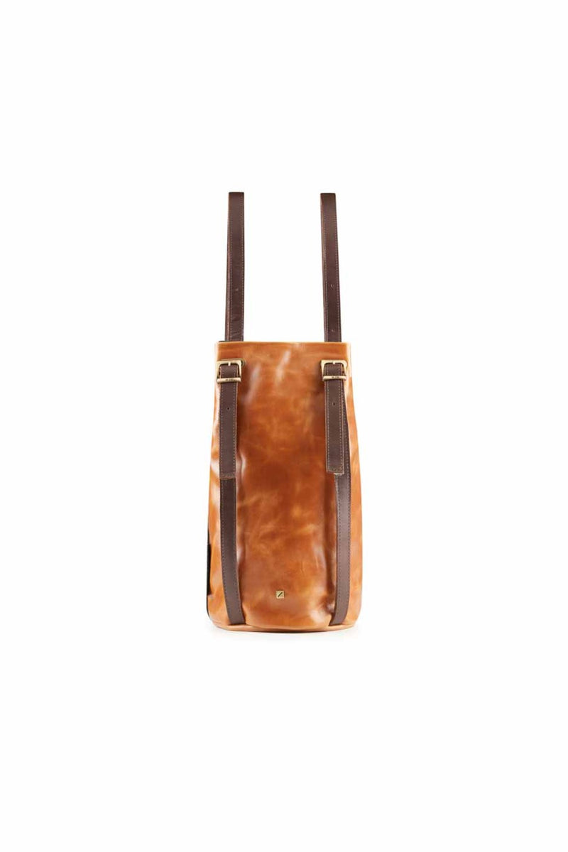 drawstring-brown leather-backpack-for-women