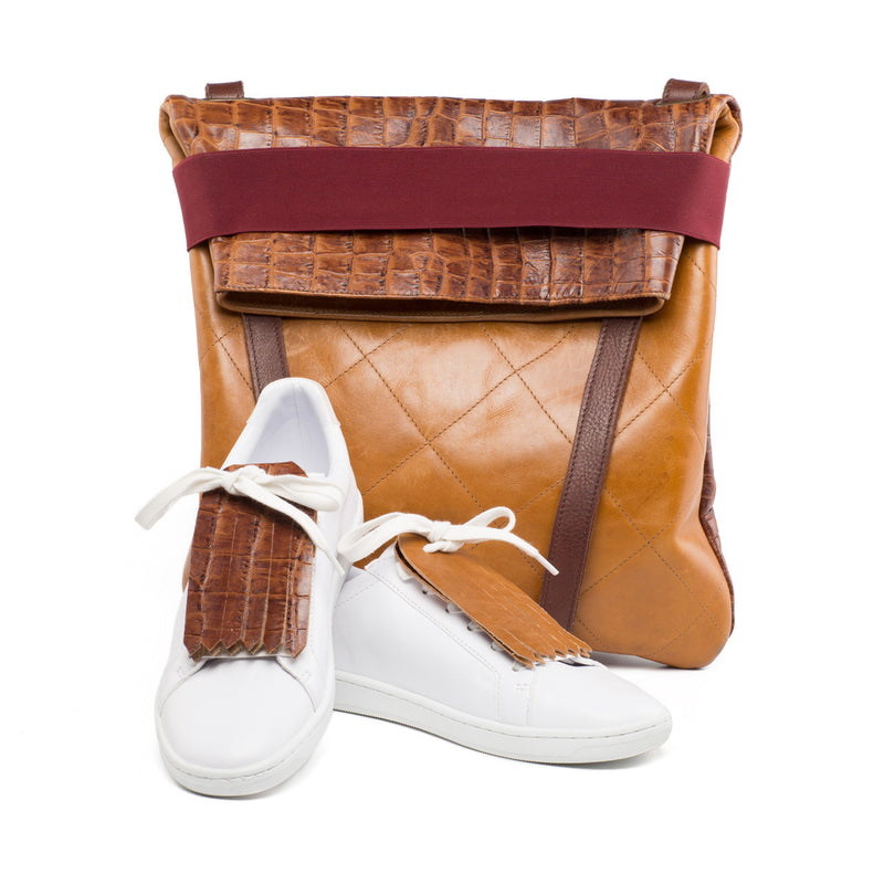 Fringe Shoe Accessory for shoes or sneakers in brown and camel leather