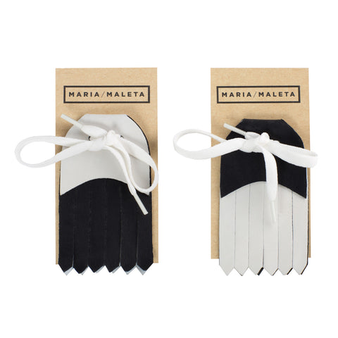 Fringe Shoe Accessory for sneakers in black and withe leather