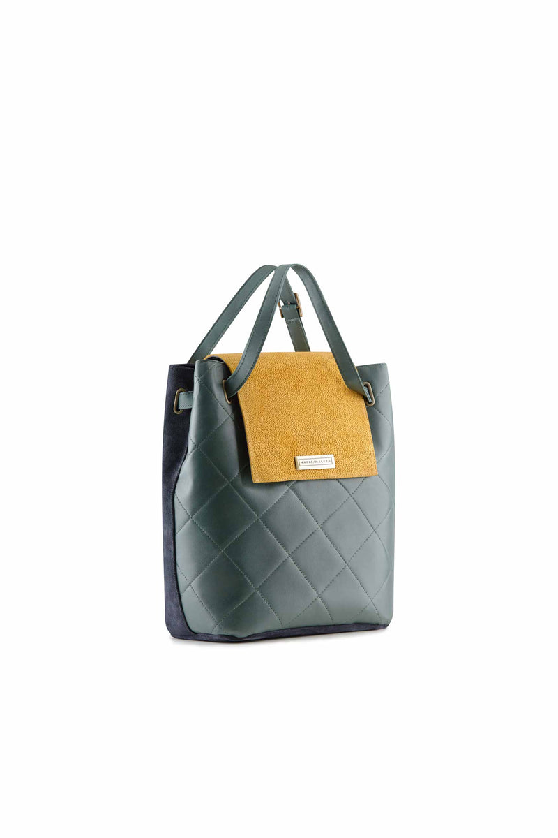 Shoulder bag pine green and blue navy leather