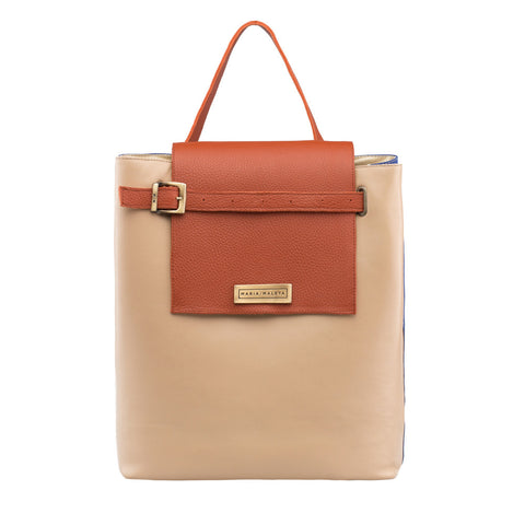 reversible shoulder bag beige and orange leather
