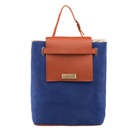 leather shoulder bag in blue and orange leather