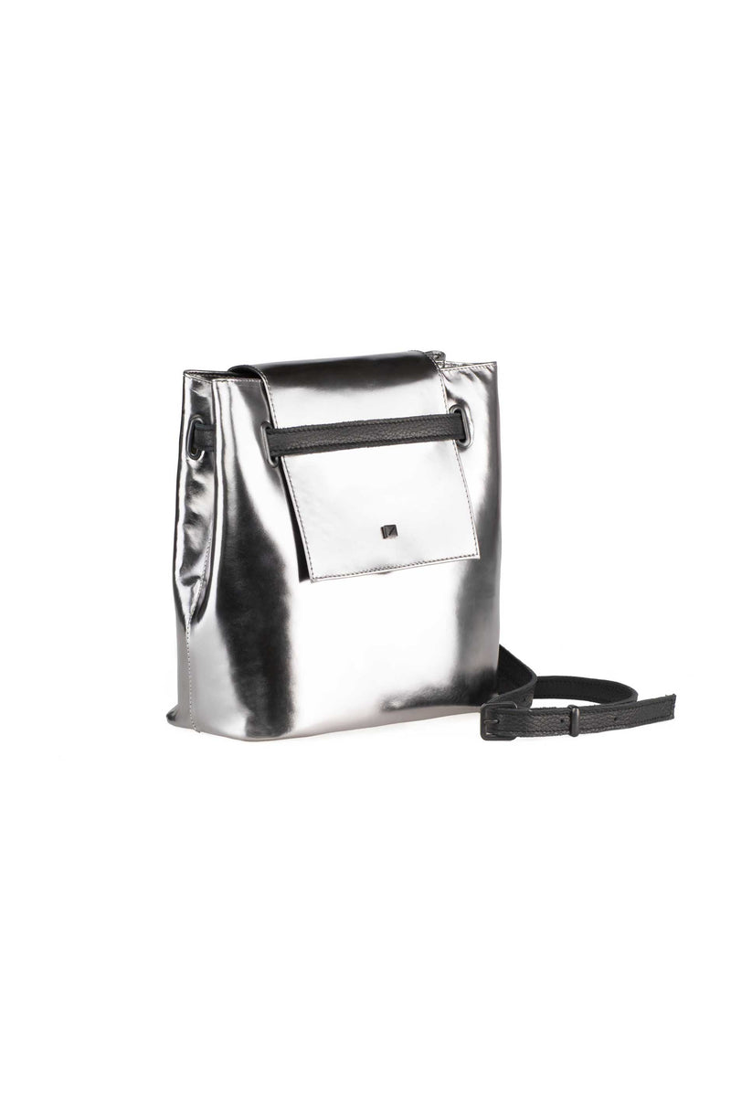 metallic silver bag in leather