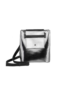 small crossbody bag metallic silver leather