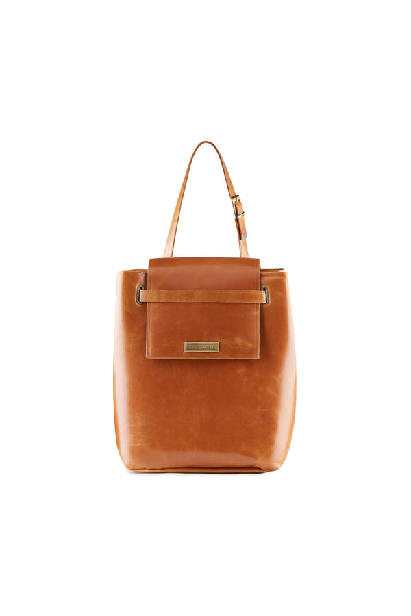 large bucket bag in brown leather