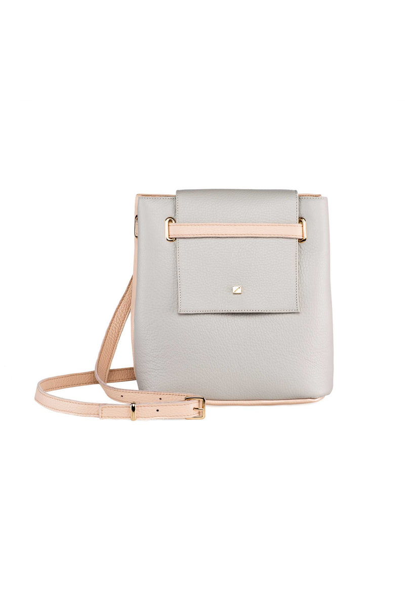 crossbody bag ligth grey leather