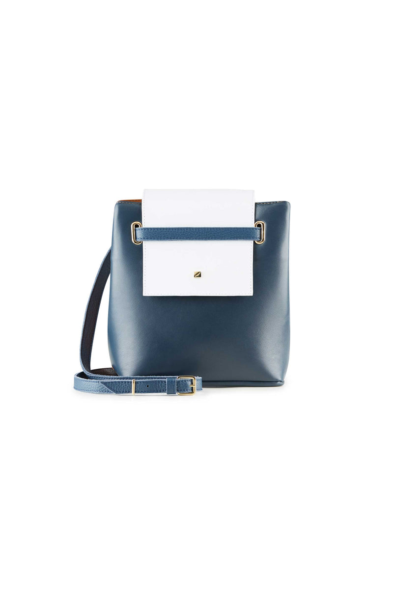 small shoulder bag blue and white women