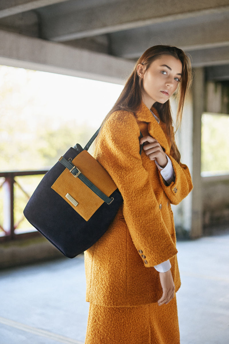 strong blue navy AND YELLOW HANDbag