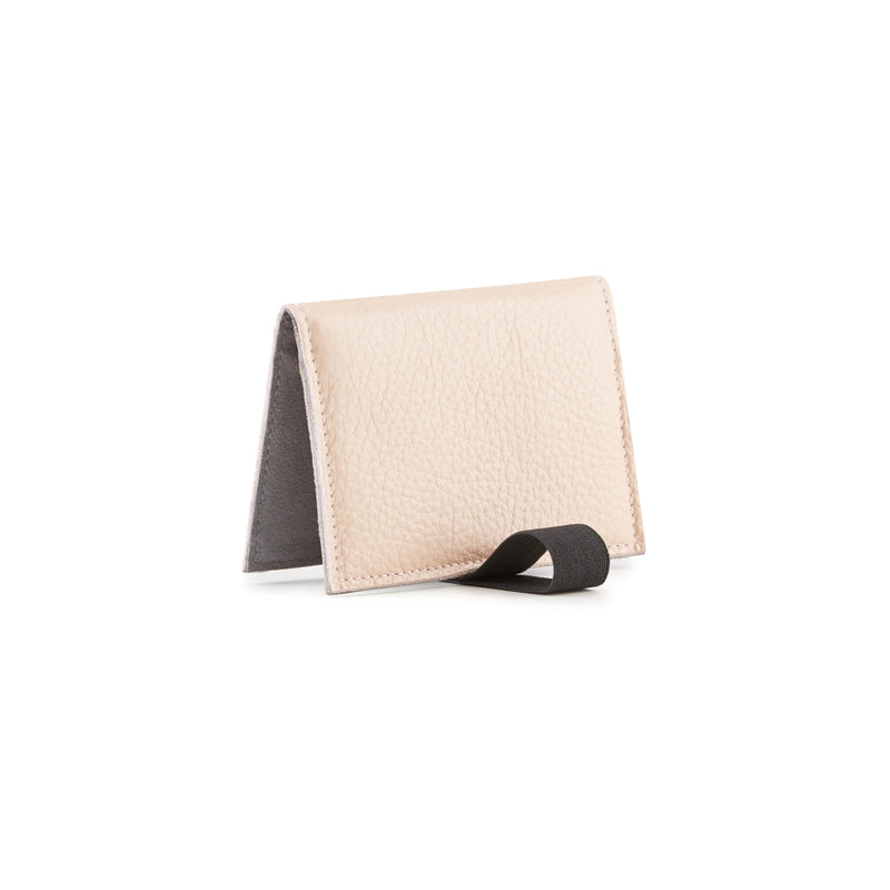 Card holder with elastic leather