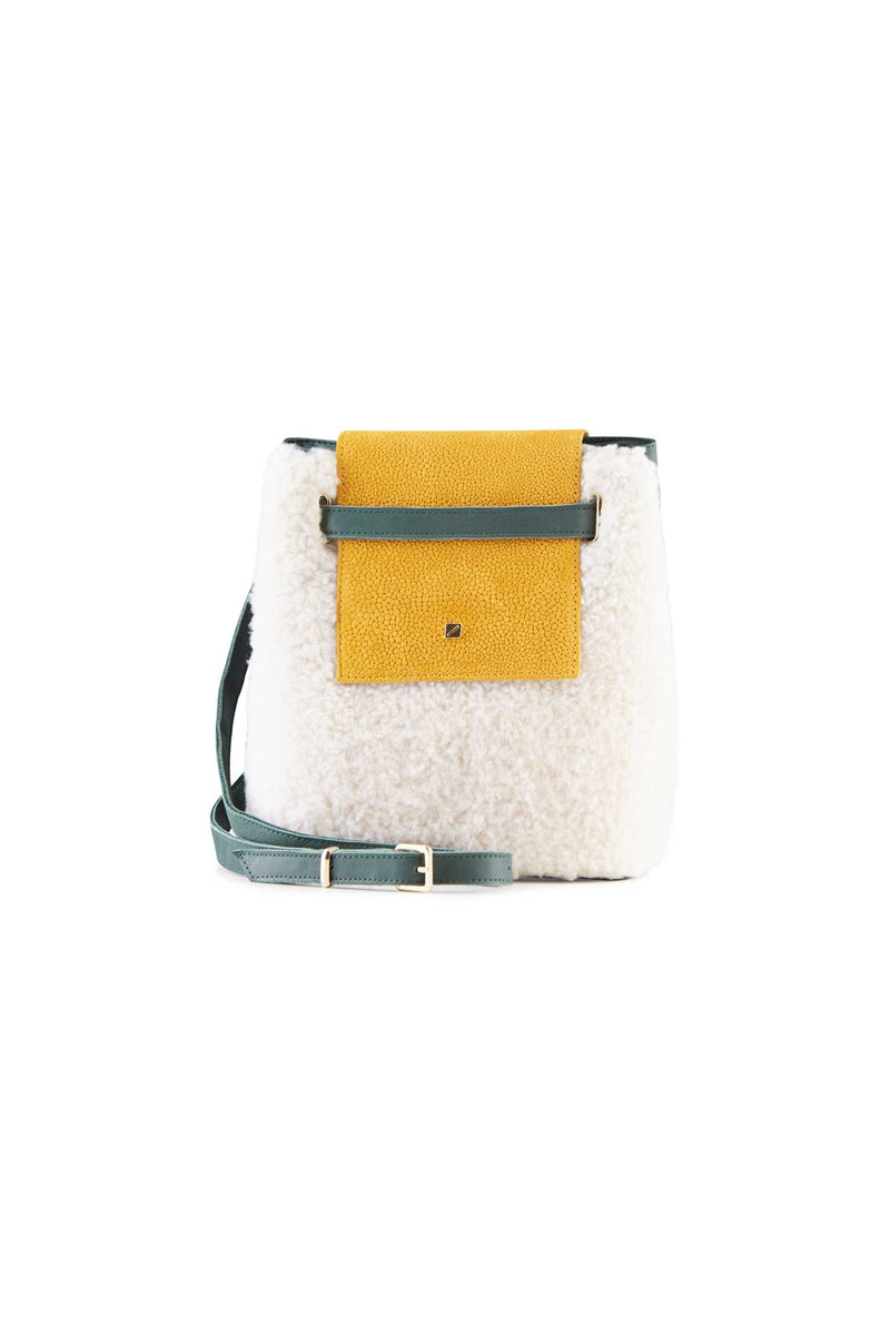 girly white shearling crossbody bag women's
