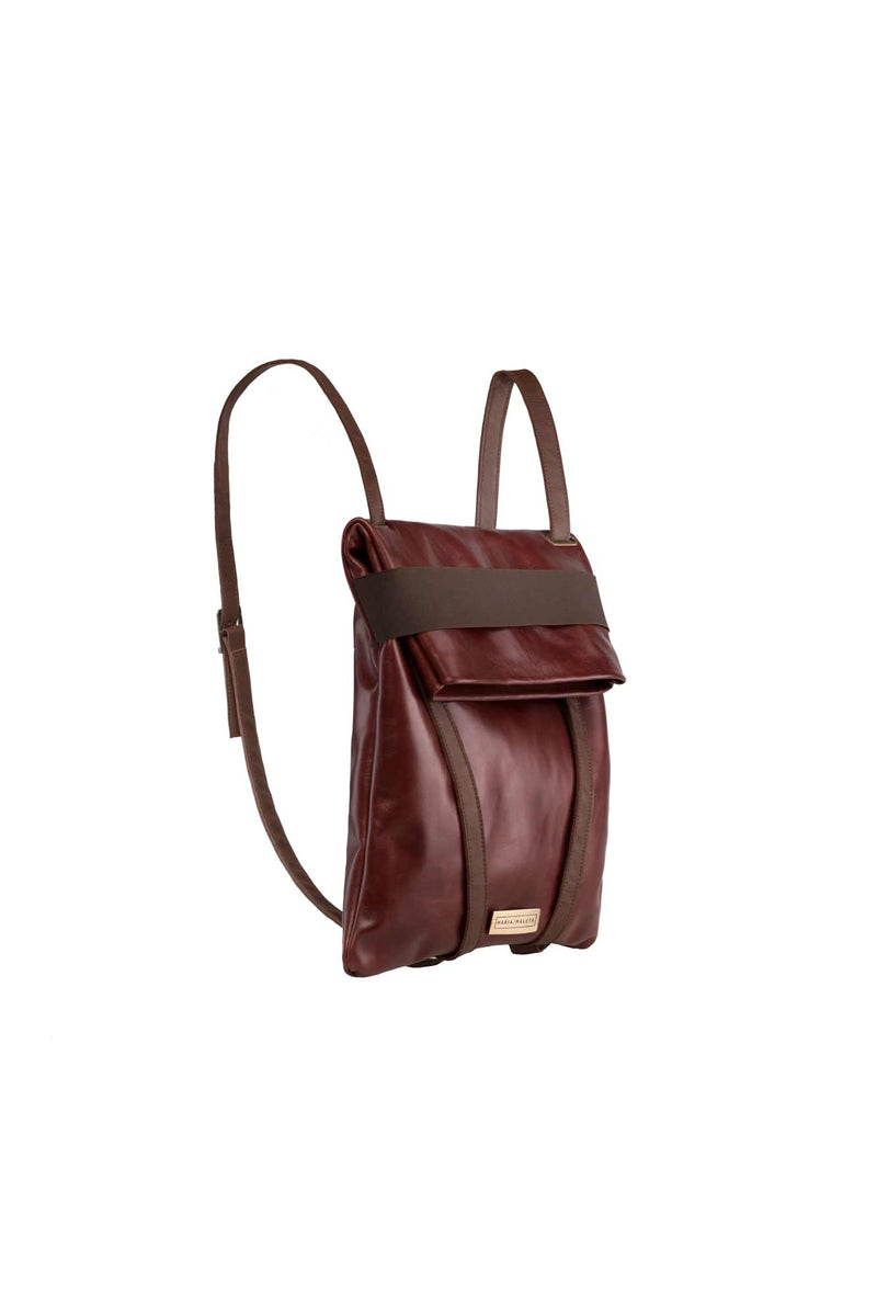 Maroon women backpack in leather