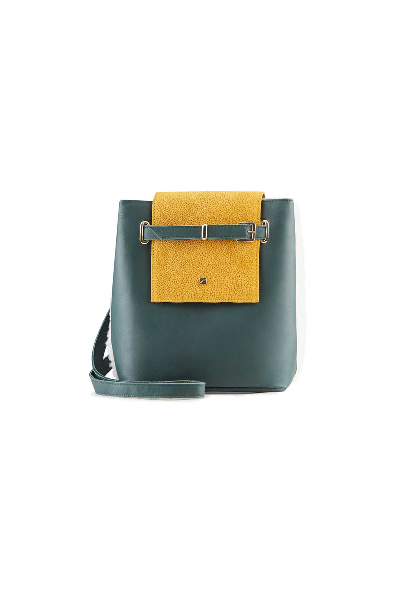 Crossbody design handbag style green leather