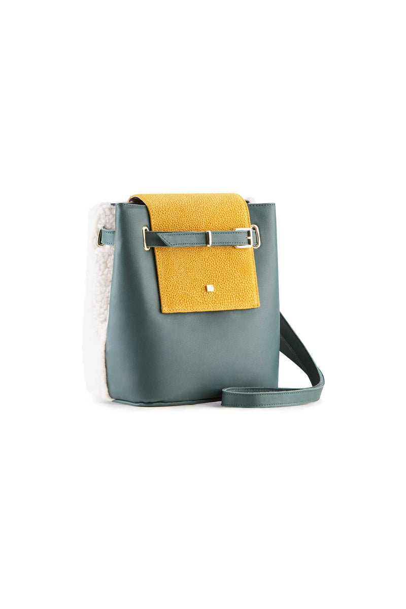 women's Small Handbag casual style green leather