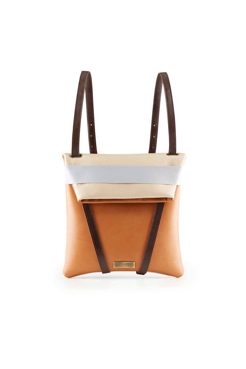 womens backpack leather caramel