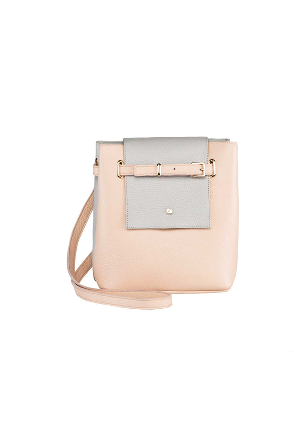 shoulder bag in pink and ligth grey