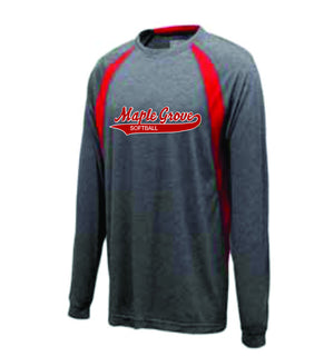 Long Sleeve Performance Tshirt - Grey/Red