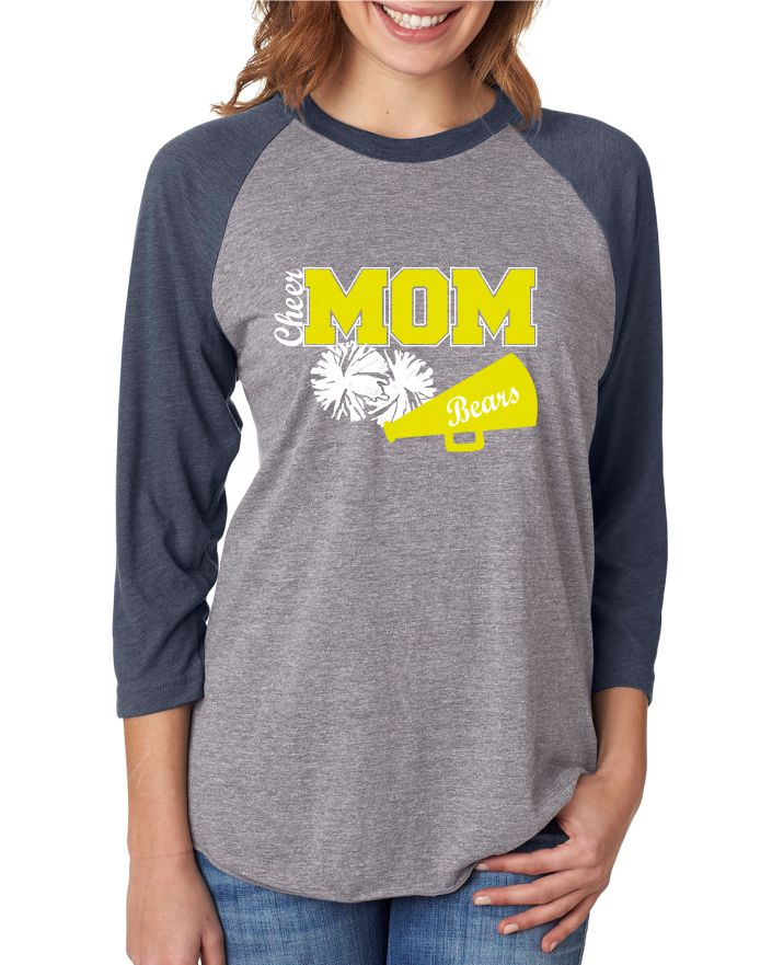 FREWSBURG CHEER CHEER MOM BASEBALL SHIRT - GLITTER