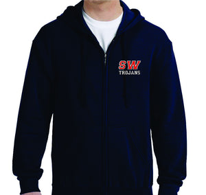 SWB - FULL ZIP HOODED SWEATSHIRT - TROJAN LOGO