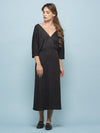 CHARCOAL BLACK DROP SHOULDER DRESS
