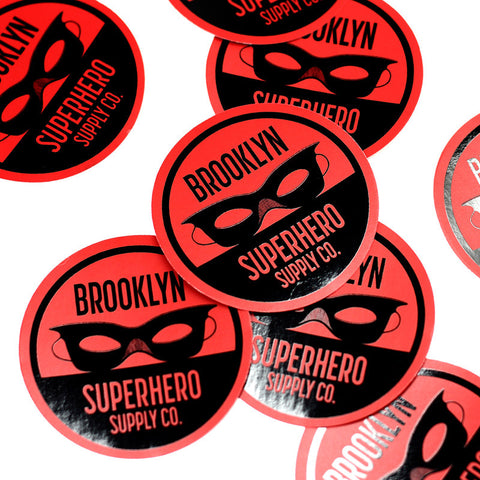 "Round Red 3"" Sticker With Logo"