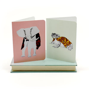 Elephant and Frog Greeting Cards by 826NYC Intern Maryam Turkey