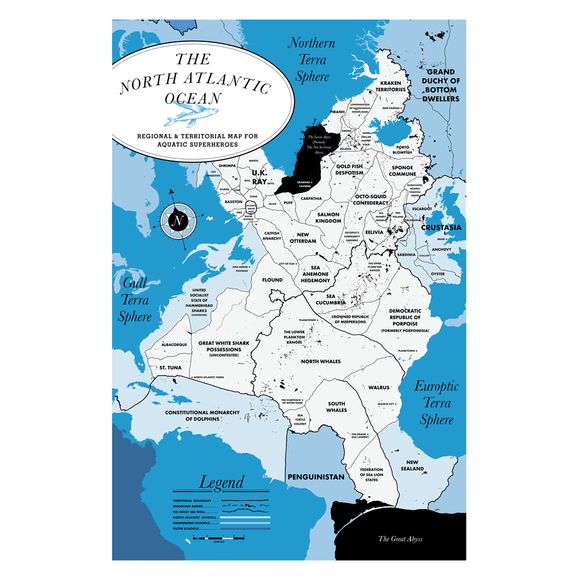 Poster: The North Atlantic Ocean Map
