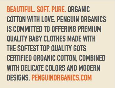 Penguin Organics Promise to use Eco Friendly Organic cotton