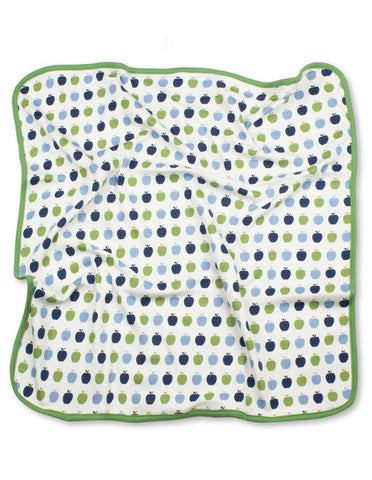Apple Blanket Multi Blue Organic Cotton