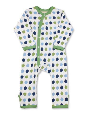 Apple Kimono Romper Multi Blue Organic Cotton | Penguin Organics