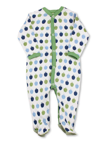 Apple One-Piece Multi Blue Organic Cotton | Penguin Organics