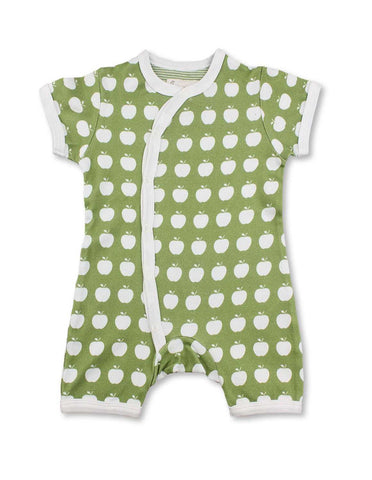 Apple Short Romper Green Organic Cotton | Penguin Organics