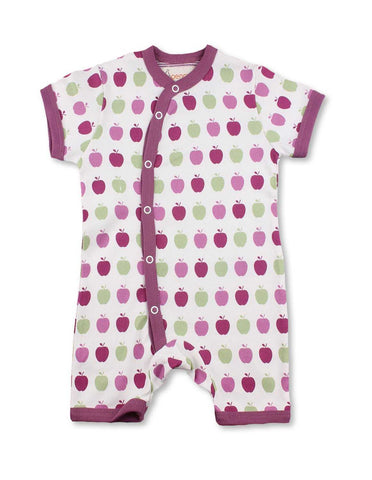 Apple Short Romper Multi Pink Organic Cotton | Penguin Organics