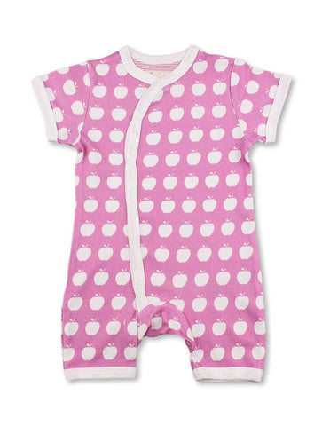Apple Short Romper Pink Organic Cotton | Penguin Organics