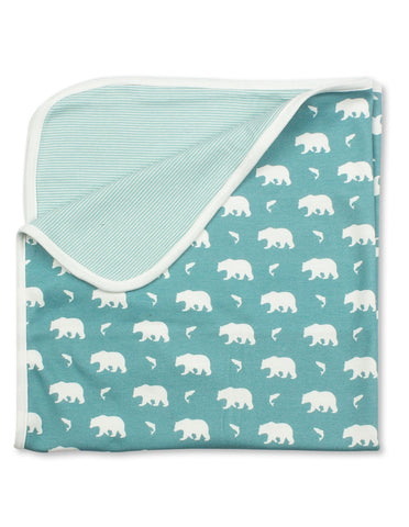 Bear Blanket Blue Organic Cotton