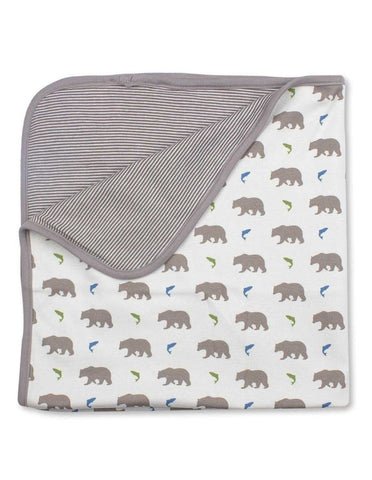 Bear Blanket Multi Grey Organic Cotton