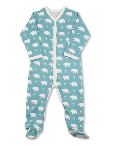 Bear One-Piece Blue Organic Cotton