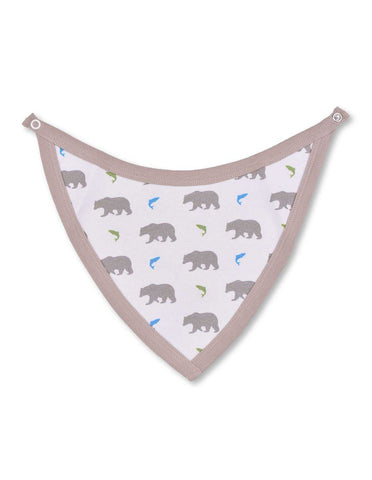Bear Bib Multi Grey Organic Cotton | Penguin Organics
