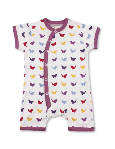Butterfly Short Romper Multi Raspberry Organic Cotton | Penguin Organics