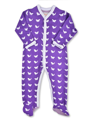 Butterfly One-Piece Purple Organic Cotton | Penguin Organics
