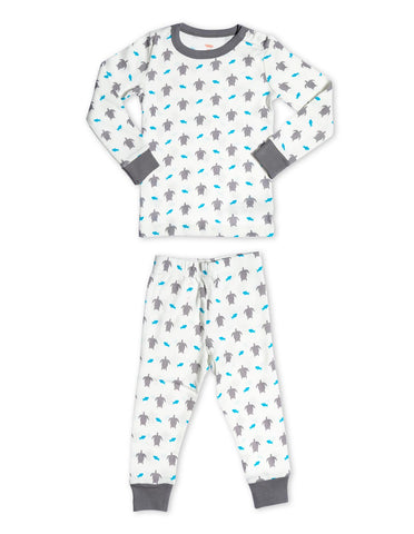 Organic Cotton Pajamas Turtle Grey