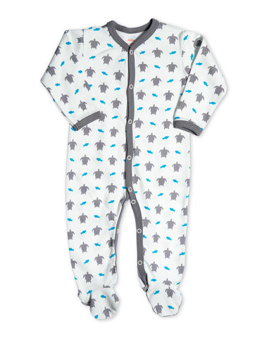 Organic Cotton Footie Grey Turtle