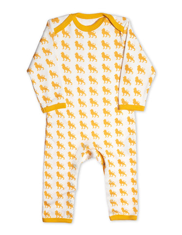Soft Organic Cotton Lion Romper Yellow by Jazzy Organics