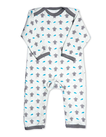 Organic Cotton Romper Grey Turtle