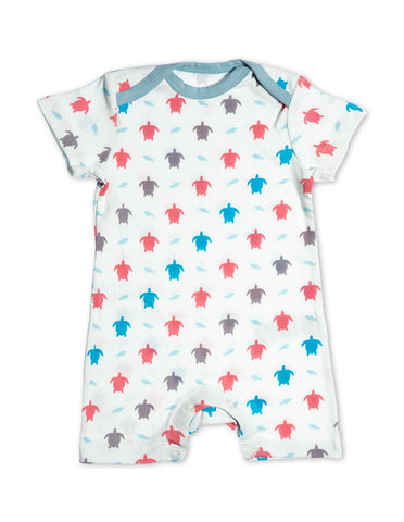 Organic Cotton Short Romper Multi Turtle