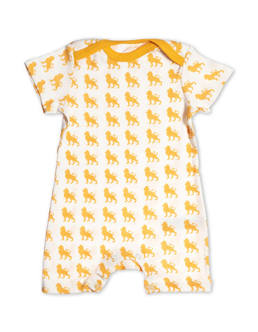 Organic Cotton Short Romper Orange Lion