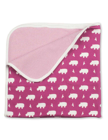 Hippo Blanket Rasberry Organic Cotton